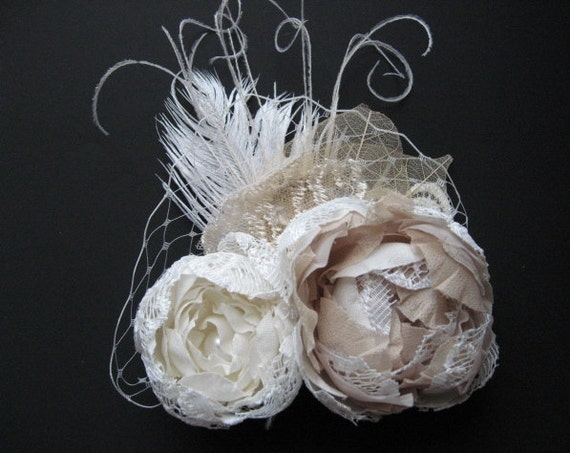 Bridal hair clip accessory Wedding fascinator hairpiece with tulle netting 2 bunch Rose flowers Double Ivory Beige champagne lace rhinestone