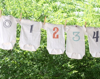 Numbers Set of 13 Monthly (newborn through 12 months)- Infant Bodysuits