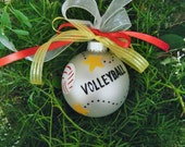 Volleyball Ornament - Personalized Christmas Ornament - Hand Painted Birthday, Christmas or Sports Award, Coach Gift, Volleyball Mom
