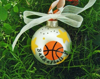 Basketball Ornament - Personalized Birthday or Christmas Ornament - Hand Painted Glass Ball