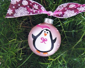Penguin Ornament - Personalized Baby's First Christmas Ornament - Glass Ball - Hand Painted Bauble - Penguin Baby Nursery - Pink Ornament