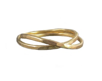 Gentle Waves Interlocking Rings in Recycled 14k Gold as seen in LUCKY & Audrey Magazines