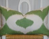 Decorative Pillow Cover - Throw Pillow - Accent Pillow - Green - White - IKAT Print - Lumbar Pillow, Square PIllow