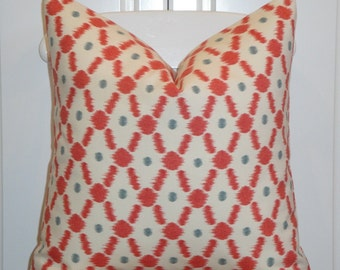 IKAT - BOTH SIDES - Decorative Pillow Cover -  Accent Pillow - Throw Pillow - Geometric - Red - Blueish-Grey