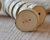 set of 8 BIRCH wooden buttons handmade from a tree branch wood... ooak...2 holes... 15/16 inch