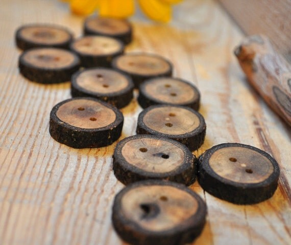 wood button - set of 12 OAK wooden buttons handcrafted and handmade from a tree branch wood... 2 holes... 1 1/8 inches