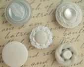White magnets, button, plastic, vintage button, kitchen accessory, office, button accessories