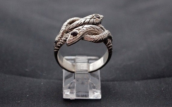 Coiled  Twin Snake Ring with Garnets
