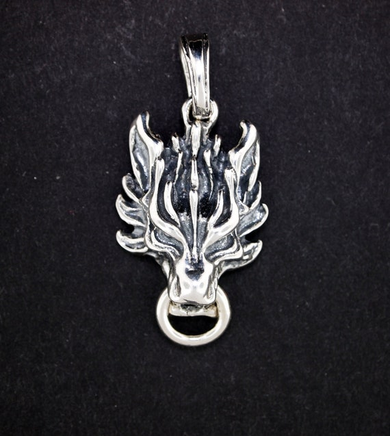 FFVII Cloud Strife Wolf Pendant in Sterling Silver