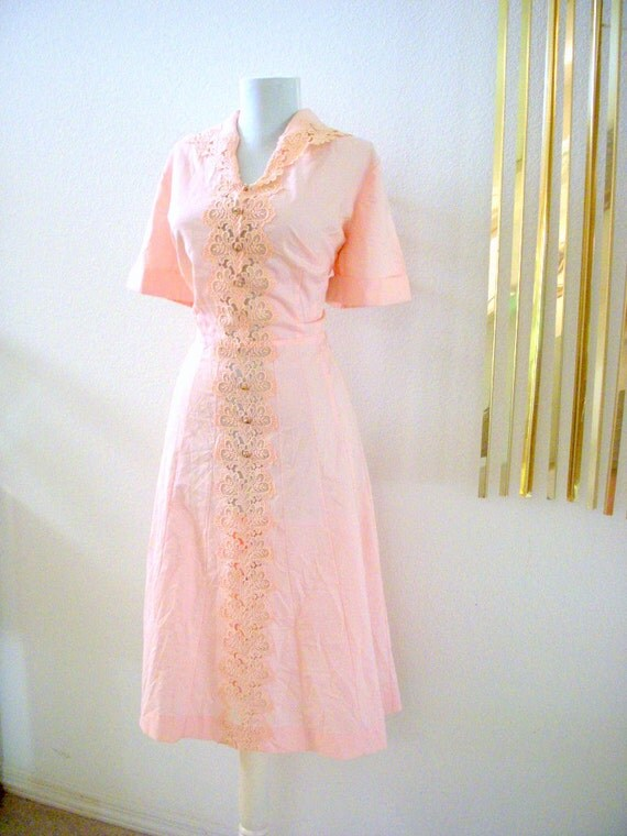 Gorgeous Vintage 40s 50s Pink Day Dress with Lace Pink Rockabilly Dress Size X Large to Plus
