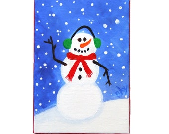 SNOWMAN with EARMUFFS, 5x7 Acrylic Canvas, winter themed art decor for home and office
