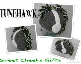 TUNEHAWK Beanie -- Adult Men Women Teen Ski Hat -- Headphones Mohawk -- Custom Colors Made to Order
