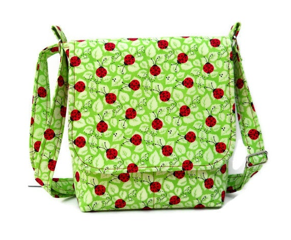 Reserved Listing - Small Hip Bag Messenger Purse - Ladybugs on Green - Spring Purse