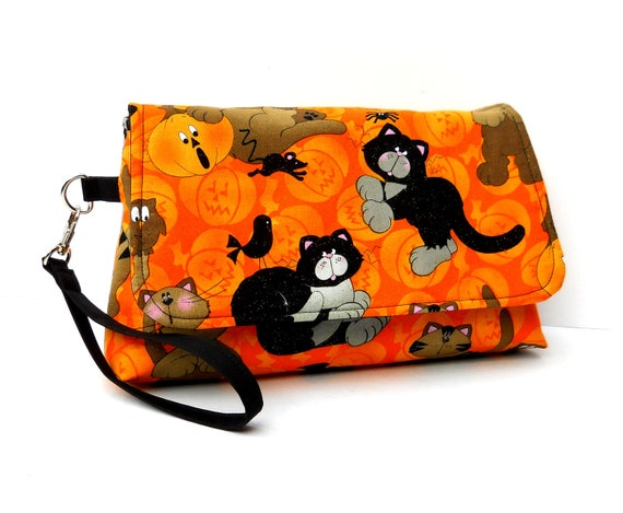 Halloween Wristlet with Flap, Autumn Clutch - Cats and Spiders on Orange Pumpkins