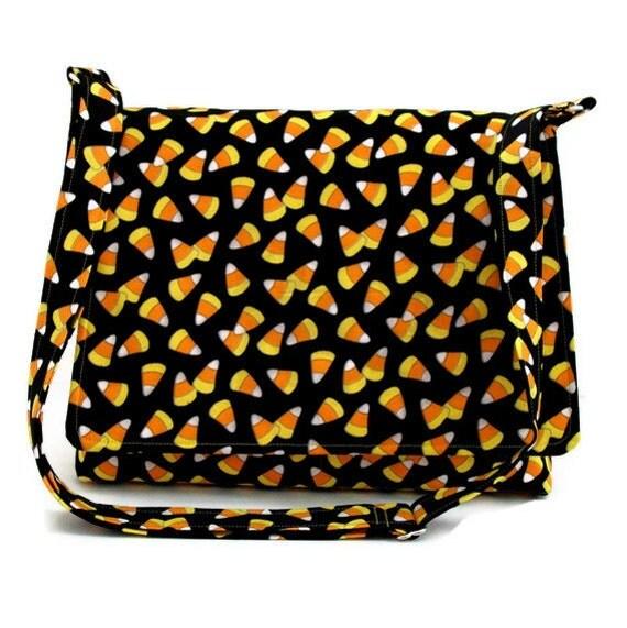 Halloween Purse Messenger Bag -  Candy Corns on Black