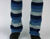 Upcycled Recycled Repurposed Sweater Leg Warmers Boot Cuffs Shades of Blue Gray Stripes