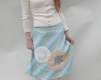 Upcycled Embellished Reclaimed Skirt Aqua Stripes Crocheted Doilies Nautical