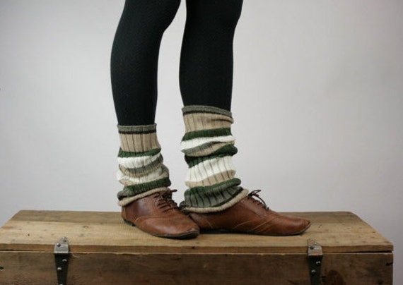 Upcycled Recycled Repurposed Sweater Leg Warmers Woodland Stripes