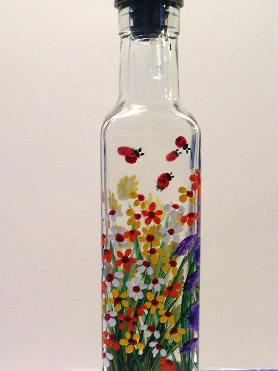 Hand Painted Wild Flowers Pour Oil Vinegar Soap Bottle Blue Dragonflies Ladybugs Pink Purple Red Yellow Green Orange