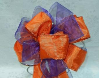 Fall Wedding  Burnt Orange and Regency Purple Wedding/ Pew Bows set of 12