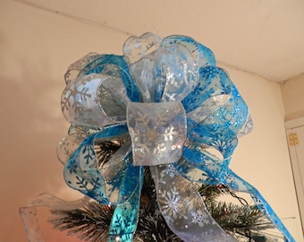 Large Christmas Tree topper bowTeal and Silver Glitter Snowflake
