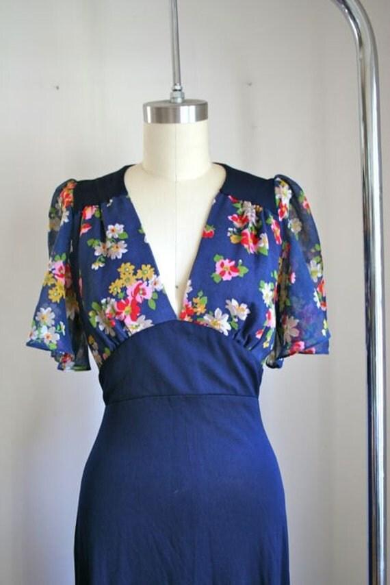 vintage 70s maxi dress - YOUNG EDWARDIAN navy boho dress / S