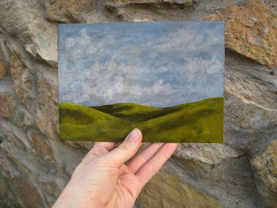 Minimalist Landscape Painting, small original painting with rolling green hills and cloudy blue sky, 5x7 painting