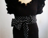 Black Sweater Knit Frilly Top Polka Dot  Obi Belt Ruffled Sleeve Pullover