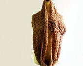 Chunky Crochet Cowl Infinity Loop Circle Scarf Caramel Honey Gold Snood