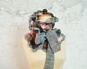 Ombre Wrap NeckWarmer Cowl Bow Tie Crochet Scarf Pink Grey Flower Pin Brooch