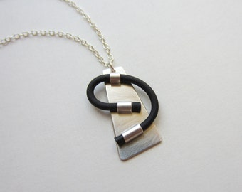 Rubber and Silver Pendant black asymmetric swirl abstract necklace modern 1 inch color choices