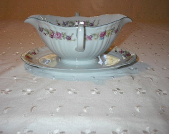 Vintage Gravyboat with Attached Underplate Dainty Floral Johann Haviland Bavaria Germany