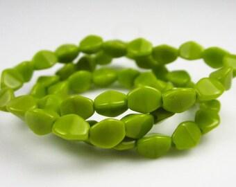 Czech Glass Opaque Olivine Pinch Beads