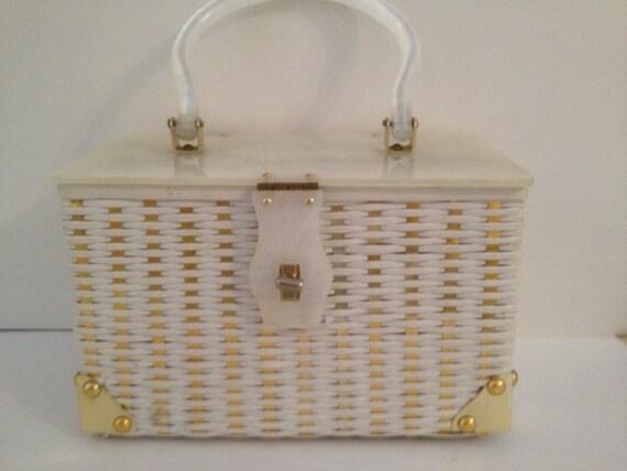 White rattan and lucite box purse