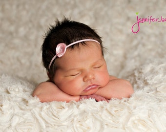 Tiny pink headband, flower, baby headband, newborn headband
