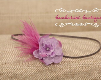 feather baby headband, purple small Flower, lavender