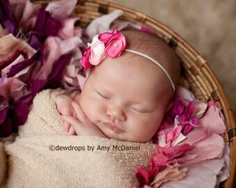 Baby headband, Ivory, Rose fabric Small Flowers, baptism headband, birthday hair accessories