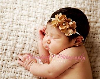 tan gold baby headbands, newborn headband