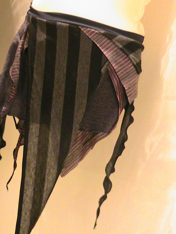 Tribal Belly dance Seaweed skirt, panel skirt , hip apron Striped Black, gray and Pink XS-SM
