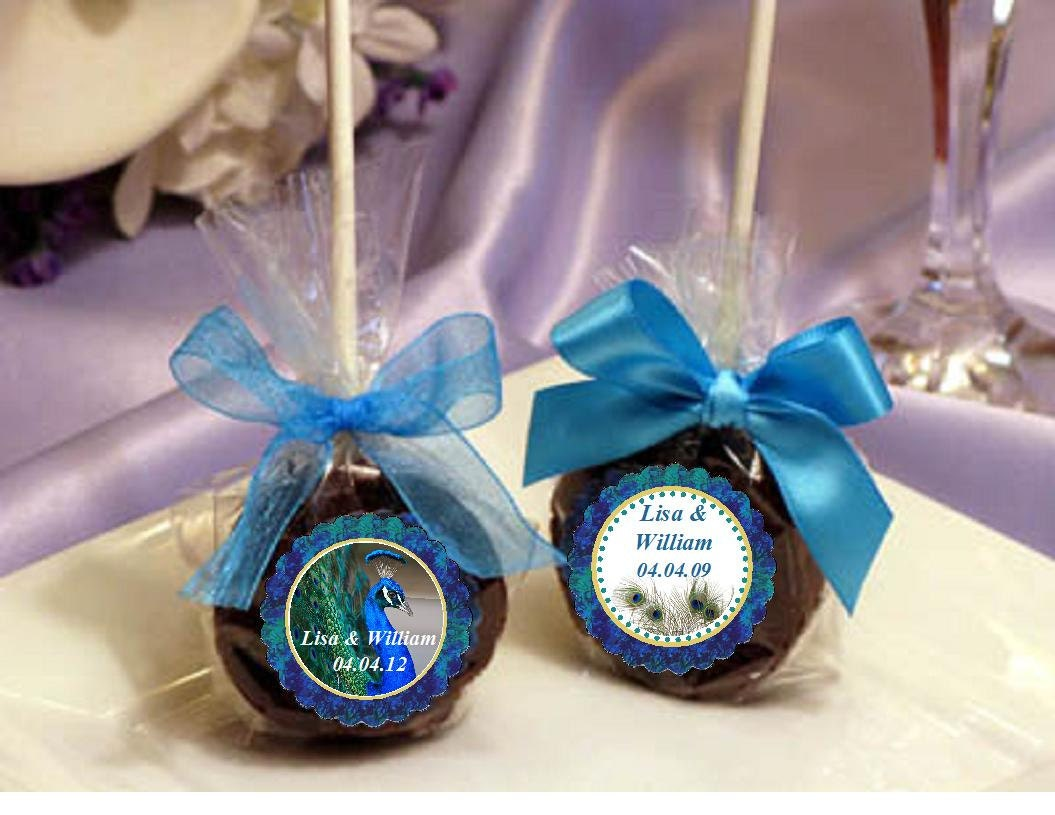 PEACOCK Wedding Brownie Pop Favors BIRD FEATHER By