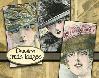 Ladies in Hats Domino size collage sheet-- Instant Download