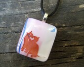 Simply in Love: Pink and White Fused Glass Pendant