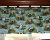 FREE SHIPPING Curtain Valance, Tab Top, Covered Bridges with Horse and Buggy