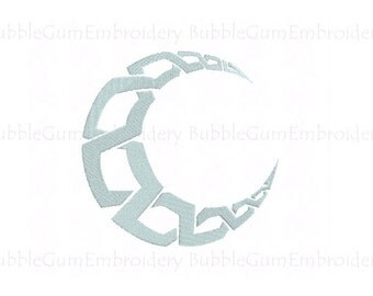 Celtic Moon Embroidery Design Instant Download