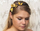 Yellow Sun Garden Fairy Butterfly Headband - forest, woodland