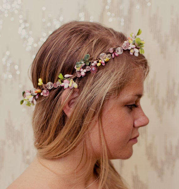 RESERVED FOR ERIN - Pink Garden Fairy Jewel Nature Crown