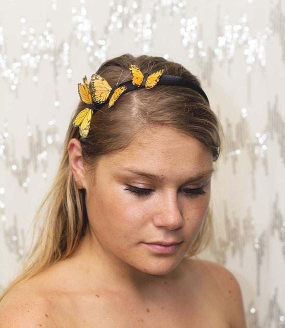 Yellow Sun Garden Fairy Butterfly Headband - forest, woodland