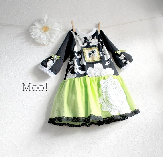 Little Girl's Dress 4T Black and White Lime Green Toddler Jumper Children's Clothing Country Cow Floral Print Eco Friendly 'TESS'