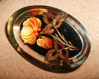 Vintage Lucite Undercarved Handpainted Pin Brooch Yellow to Orange ROSE with Leave & Stem High Detail