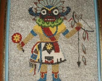 Antique HOPI Kachina Doll God All Hand Glass Beaded On Needlework Southwestern Folk Painting Framed 1950